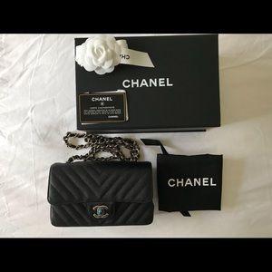 d74b11b06036 CHANEL Bags - CHANEL Classic Mini Rectangle Chevron Flap Bag